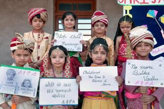 Of every 28 girl child marriages occurring per minute in the world, more than two takes place in India.  Photo: PTI