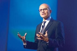 File photo of Microsoft's chief executive Satya Nadella. Microsoft's revenue climbed to $24.7 billion, compared with estimates for $24.3 billion, in the latest quarter. Photo: Mint