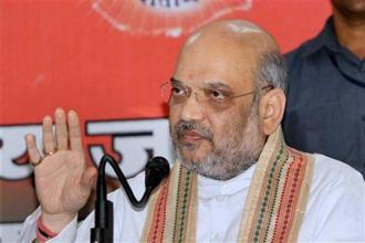 BJP president Amit Shah addressing media persons during a press conference in Jaipur on Saturday. Photo: PTI