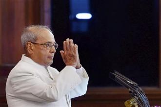 Outgoing President Pranab Mukherjee during his farewell at the Parliament on Sunday. Photo: PTI
