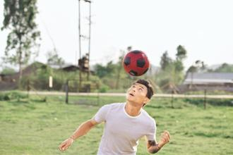 Telem Jackichand Singh at the football field in Manipur where he first started playing the beautiful game. Singh played for Mumbai City FC in the Indian Super League (ISL) last season. Photo: Indranil Bhoumik/Mint