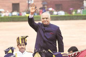 President Ram Nath Kovind at the Rashtrapati Bhavan in New Delhi on Tuesday. Photo: PTI