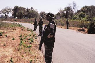 A file photo shows CRPF personnel standing guard in Naxal-affected Bastar district in Chhattisgarh. Photo: Shaswati Das/Mint