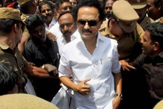 DMK working president MK Stalin being arrested in Coimbatore as he was going to oversee a lake desilting work on Thursday. Photo: PTI