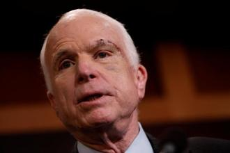 Senator John McCain speaks during a press conference about his resistance to the so-called 'Skinny Repeal' of the Affordable Care Act on Capitol Hill in Washington. Photo: Reuters