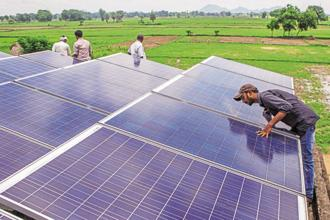 At present, India has a total of 58,303.35MW of renewable power of which 32,508.17MW comes from wind power alone, while solar accounts for 13,114.85MW. Photo: Bloomberg