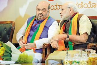 BJP president Amit Shah and Prime Minister Narendra Modi. The BJP with its NDA partners is in power in 18 states of India. Photo: PTI