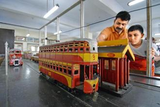 Miniatures of trams and buses on display at the BEST Museum in Mumbai. Photo: Abhijit Bhatlekar/Mint