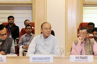 Finance minister Arun Jaitley chairing the 20th meeting of the GST Council in New Delhi on Saturday. Photo: PTI