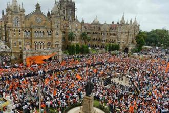 Activists of Maratha Kranti Morcha carry out a silent protest outside the Chhatrapati Shivaji Terminus, in Mumbai on Wednesday. AFP