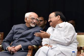 Outgoing vice president Hamid Ansari (left) with successor M. Venkaiah Naidu during his farewell at the Parliament on Thursday. Photo: PTI