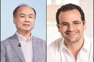 SoftBank boss Masayoshi Son (left) and Tiger Global Management's Lee Fixel.