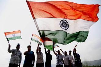 Youngsters in Jammu ahead of India's independence day on Tuesday. Photo: PTI