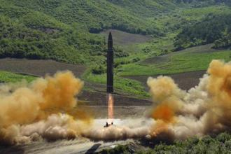 This file photo distributed by the North Korean government shows what was said to be the launch of a Hwasong-14 intercontinental ballistic missile (ICBM), in July. Photo: AP