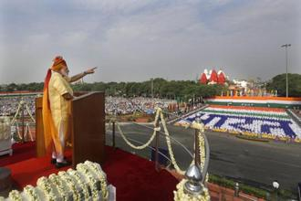 Prime Minister Narendra Modi addresses the nation from the Red Fort as India celebrated its 71st Independence Day on Tuesday. AP