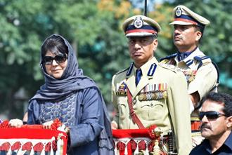 Jammu and Kashmir chief minister Mehbooba Mufti attends official celebrations marking India's Independence Day at Bakshi Stadium in Srinagar. Photo: AFP