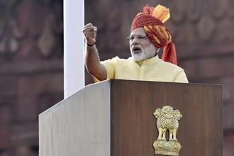 Prime Minister Narendra Modi addresses the nation during the 71st Independence Day function at the Red Fort in New Delhi on Tuesday. Photo: PTI