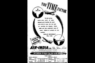 An advertisement of Air India in 1947. If someone wanted to fly from Mumbai to Delhi to catch the festivities at the time of India's independence, s/he would have paid Rs140 for an Air India flight.