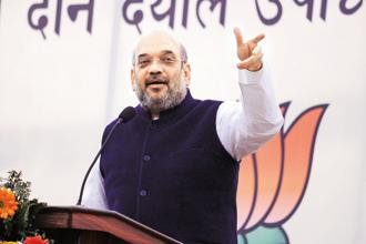 BJP president Amit Shah has been on a nationwide tour to review the performance of the party and its governments in a bid to expand the BJP footprint ahead of the 2019 Lok Sabha elections. Photo: HT