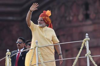 PM Narendra Modi, who was speaking at the 71st Independence Day after hoisting the tricolour from the Red Fort, also referred to the change brought in the transportation sector by the introduction of goods and services tax (GST). Photo: AFP