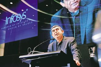 Infosys's performance has already become ho-hum, with CEO Vishal Sikka backtracking from his $20 billion revenue goal by 2020—analysts expect an embarrassing $5 billion miss. Photo: Aniruddha Chowdhury/Mint