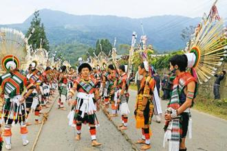 Members of the Angami tribe, to which Angami Zapu Phizo belongs, at the Hornbill Festival in Nagaland. Photo: AFP