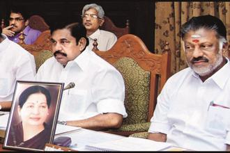 Former Tamil Nadu chief minister O. Panneerselvam, right, will become the convener of the AIADMK, while chief minister E. Palaniswami, left, will be co-convener. Photo: PTI