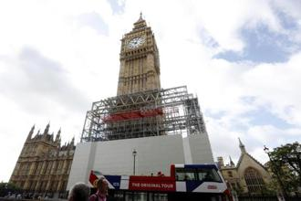 Scaffolding is erected around the Elizabeth Tower, which includes the landmark 'Big Ben' clock, as part of ongoing conservation efforts at the Palace of Westminster in London. Photo: Caroline Spiezio/AP
