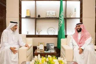 Saudi Arabia crown prince Mohammed bin Salman (right) meeting with Qatari envoy Sheikh Abdullah bin Ali bin Jassim al-Thani in Jeddah. Photo: AFP