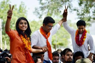 File photo. ABVP candidates Amit Tanwar, Priyanka Chabri and Ankit Sangwan celebrate their victory after winning the post of president, vice president and secretary in the 2016 DUSU elections in Delhi. Photo: PTI