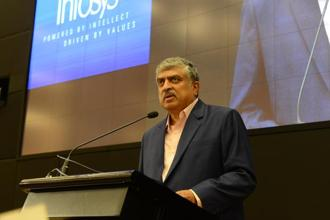 Newly appointed non-executive chairman of Infosys Nanadan Nilekani speaks at a press conference at the company's headquarters in Bengaluru on 25 August 2017. Photo: Hemant Mishra/Mint