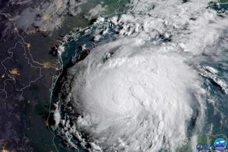 Hurricane Harvey is seen in the Texas Gulf Coast, US, in this NOAA GOES satellite image. Photo: NOAA/Handout via Reuters