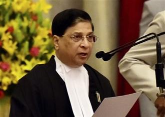 Justice Dipak Mishra was sworn in as the new Chief Justice of India by President Ram Nath Kovind on Monday. Photo: PTI