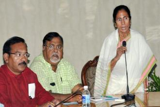 West Bengal chief minister Mamata Banerjee during a meeting with Darjeeling-based political parties, at the State Secretariat near Kolkata on Tuesday. Photo: PTI