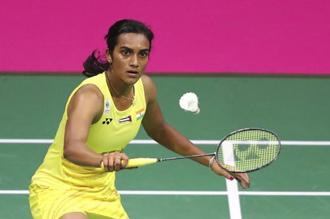 P.V. Sindhu in action during the women singles final of the 2017 BWF World Championships in Glasgow, Scotland. Photo: AP