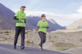 Runners take part in La Ultra-The High race in Leh-Ladakh. Here temperatures can vary from plus 40°C to -10°C within a couple of hours; there could be a snowstorm followed by a dust storm.