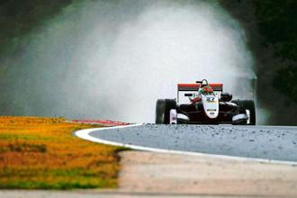 Jehan Daruvala driving his Carlin during the Spa-Francorchamps race.