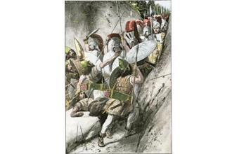 An artist's rendition of the Greek army holding off the Persian invasion. Photos: Alamy.
