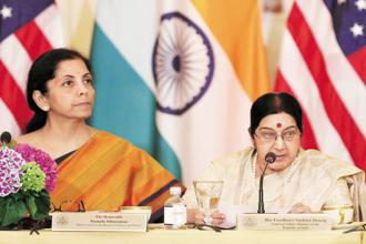 Defence minister Nirmala Sitharaman (left) and external affairs minister Sushma Swaraj. Photo: Reuters