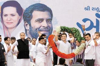 Congress vice-president Rahul Gandhi at a party meeting in Ahmedabad on Monday. Photo: PTI