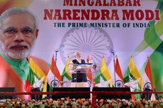 Referring to the noteban, Narendra Modi said the step was taken to curb black money and that it had helped identify lakhs of people who had crores of rupees in bank accounts but never paid income tax. Photo: PTI