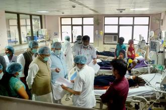 A file photo BRD Medical College in Gorakhpur where several children died in August due to paucity of oxygen. Photo: PTI
