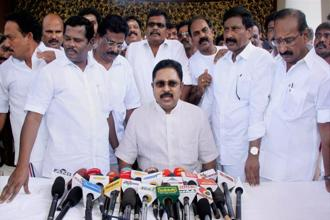AIADMK (Amma) deputy general secretary T.T.V. Dhinakaran, along with party MLAs supporting him, at a press conference in Puducherry on Saturday. Photo: PTI