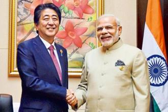 Prime Minister Narendra Modi and Japan's Shinzo Abe. The Japanese prime minister will begin his India visit by laying the foundation stone for the Ahmedabad-Mumbai bullet train in the Gujarat city on 12 September. Photo: PTI
