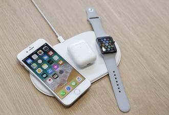 An AirPower wireless charging pad displayed along with other products during the Apple event in Cupertino, California, on Tuesday. Photo: Reuters