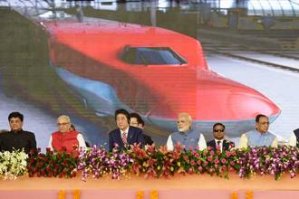 Prime Minister Narendra Modi and Japanese PM Shinzo Abe attending a ground breaking ceremony for the Mumbai-Ahmedabad high speed rail project in Ahmedabad on Thursday. Photo: PIB via AFP