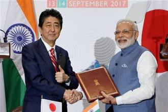 Prime Minister Narendra Modi and his Japan's Shinzo Abe during the India-Japan Annual Summit in Gandhinagar on Thursday. Photo: PTI