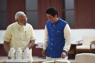 Japanese Prime Minister Shinzo Abe and Prime Minister Narendra Modi visit Sabarmati Ashram, in Ahmedabad on Wednesday. Photo: AFP