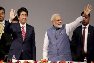 Japanese prime minister Shinzo Abe (left) and India's Narendra Modi during the India-Japan Annual Summit in Gandhinagar on Thursday. Photo: PTI