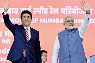 Prime Minister Narendra Modi and his Japanese counterpart Shinzo Abe (left) during the ground-breaking ceremony for the Ahmedabad-Mumbai bullet train in Ahmedabad on Thursday. Photo: PTI